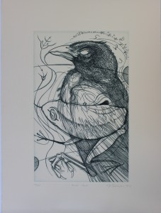 Oscar Gillespie, Blind Crow, engraving, 2003